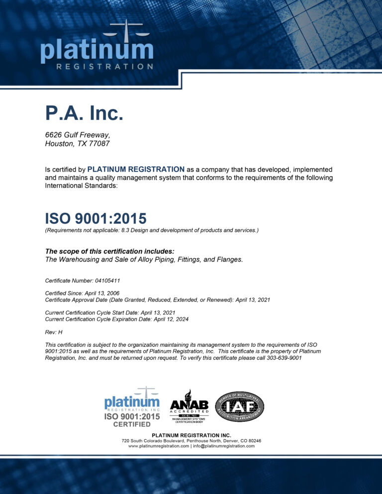 P.A. Inc. ISO Certificate